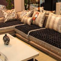 罗迪妮 皮沙发垫防滑布艺坐垫四季欧式全盖皮沙发套罩黑色垫子
