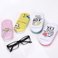 创意可爱眼镜盒文具盒 小清新便携马口铁盒子 学生眼镜盒收纳盒 PVC精装