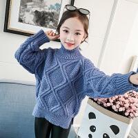 女童毛衣洋气套头高领儿童秋冬针织打底衫