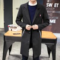 男士中长款风衣男秋冬季韩版修身型呢子外套潮流毛呢大衣男装衣服 黑色 M