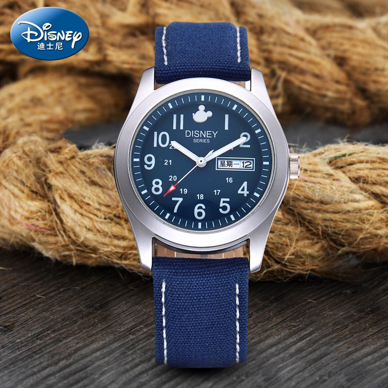 迪士尼儿童手表男孩男表小学生表男童表日历夜光大童石英表腕表