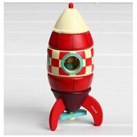 janod儿童拆装磁性组合玩具木制拼装车飞机男孩早教1-3岁