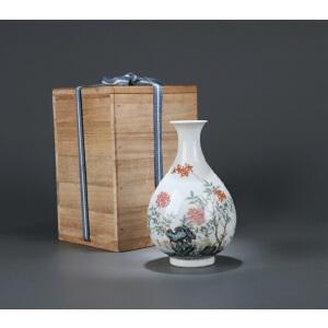 清代粉彩山石花卉诗文玉壶春瓶(日式包装)