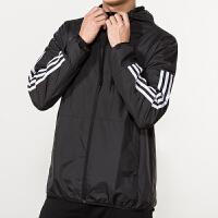 #超品日满200减60#Adidas阿迪达斯男装外套 2018新款运动休闲防风连帽夹克 DU5183