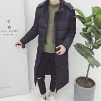 原宿棉衣男士外套长款过膝冬季潮牌日系复古加厚保暖防风大衣 黑色
