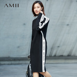 Amii[极简主义] 宽松连衣裙秋装2017新款撞色拼接烫印落肩袖裙