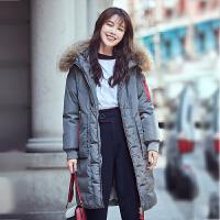 【618大促-每满100减50】高梵2017冬季新款貉子毛领中长款羽绒服女 时尚撞色韩版保暖外套