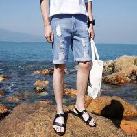 牛仔短裤男士薄款五分裤男5分马裤夏天修身韩版破洞中裤裤子