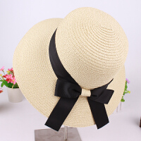 草帽子透气沙滩帽子女时尚韩版潮大沿防晒遮阳帽可折叠太阳帽潮