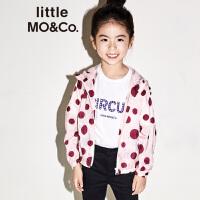 littlemoco秋季新品儿童夹克撞色波点连帽网格层拉链防风长袖外套