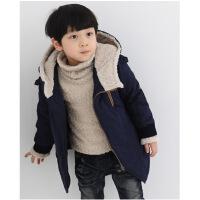 童装冬款加厚男童棉衣韩版中大童男童斜拉链棉衣儿童加厚