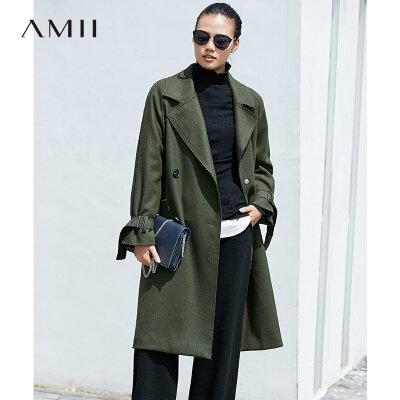 AMII[极简主义]率性有型羊毛呢大衣2017冬新大翻领双排扣中长款
