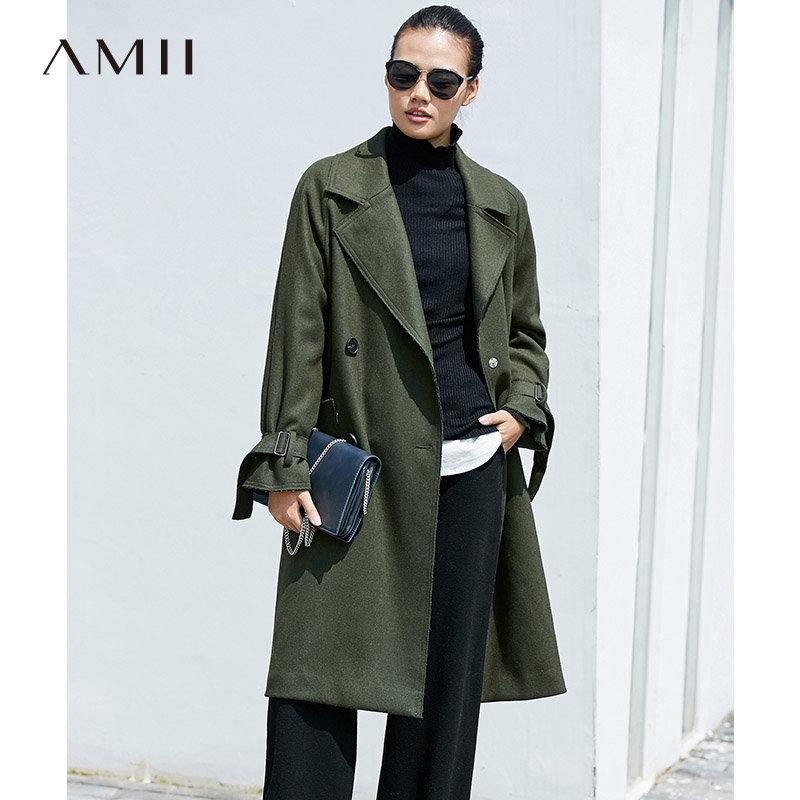 【品牌团 1件7折/2件5折】AMII[极简主义]率性有型 羊毛呢大衣2017冬新大翻领双排扣中长款