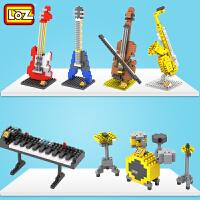 儿童微钻石小颗粒积木 小提琴吉他架子鼓乐器玩具益智拼装模型