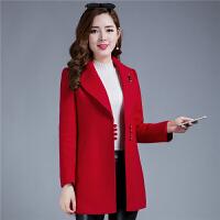 2017春装新款韩版修身中长款女士收腰时尚毛呢外套中年呢子大衣40