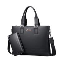 新款男士牛皮电脑包包横款拉链男手提包商务男公文包男包 横款黑色