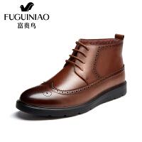富贵鸟短靴男鞋 冬季新款高帮鞋棉靴男士布洛克雕花休闲鞋