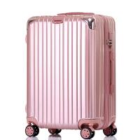 行李箱小清新万向轮旅行箱密码箱20韩版学生男女潮26大拉杆箱24寸 玫瑰金 (拉丝纹带挂钩)