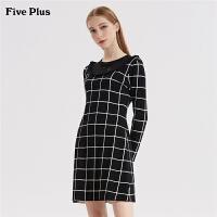 FIVE PLUS新款女装格子毛织连衣裙女拼接蕾丝短裙收腰长袖圆领