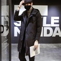 冬季加厚男士中长款外套男 青少年学生时尚潮流棉衣男 黑