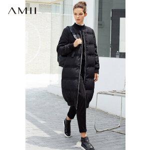 Amii[极简主义]2017冬装新款90绒休闲棒球领长款过膝修身羽绒服女