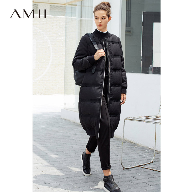 【品牌团 1件7折/2件5折】Amii[极简主义]2017冬装新款90绒休闲棒球领长款过膝修身羽绒服女