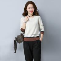 圆领针织衫女秋季新款宽松羊毛衫薄款套头长袖打底衫上衣