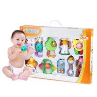 新生儿宝宝玩具0-3-6-12个月1岁早教礼盒装牙胶摇铃婴儿玩具