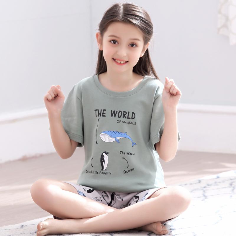 儿童睡衣薄款短袖夏季套装小孩夏天家居服