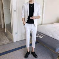 韩版休闲小西装男修身一粒扣七分袖西服套装发型师夜店九分裤一套