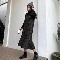秋冬女装新款韩版气质显瘦中长款格子长袖呢子背带裙长裙学生