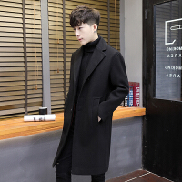 风衣男中长款青年韩版修身款秋冬季潮流帅气毛呢外套男英伦大衣男 W012黑色 M