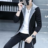 冬季男士中长款加绒加厚风衣外套韩版青年纯色连帽棉衣保暖外套潮
