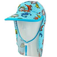 时尚儿童卡通泳帽沙滩度假遮阳帽大帽檐护颈帽男童防晒帽   可礼品卡支付