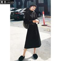 秋冬季新款韩版中长款高领加厚毛衣裙女过膝收腰针织衫黑色连衣裙 黑色 均码