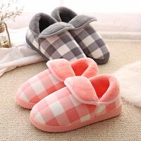 冬天保暖棉拖鞋女厚底冬季韩版可爱包跟情侣月子鞋防滑毛毛拖鞋男