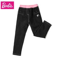 芭比童装女童2017新款秋装女童牛仔裤儿童修身小脚铅笔长裤子