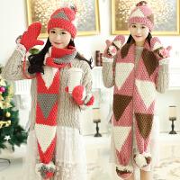 韩版冬季保暖围脖三件套可爱毛线帽子手套围巾一体套装女生日礼物