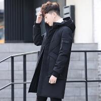 秋冬新款男士中长款羽绒服潮韩版修身加厚外套青年学生外套男 黑色