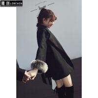 冬季毛呢外套女韩版中长款收腰妮子大衣+毛呢高腰显瘦短裤两件套
