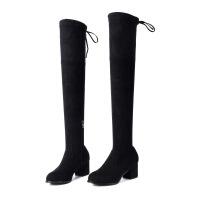 2017秋冬新款女靴长靴过膝靴加绒保暖高筒靴粗跟高跟女鞋长筒 黑色加绒