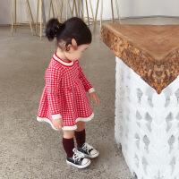 宝宝连衣裙婴儿秋装女小孩公主裙子1-3-5岁儿童格子针织毛衣洋气