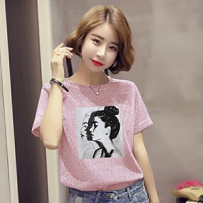 RANJU 然聚2018女装夏季新品新款短袖T恤女韩版半袖体恤上衣宽松打底衫潮