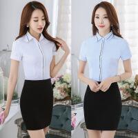 夏季新款短袖白衬衫女工作服正装修身显瘦商务OL白领面试工装衬衣 +裤