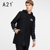 以纯A21冬装2017新款黑色潮流呢子大衣男中长款休闲百搭英伦外套男