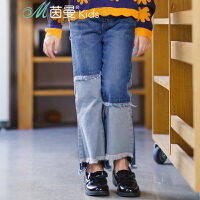 茵曼童装女童牛仔九分裤新款时尚拼接撞色高低脚口休闲裤【3881334042】