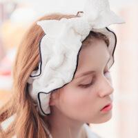 妈妈纱布月子头巾蝴蝶结蕾丝可爱宽边发箍女洗漱化妆洗脸发带