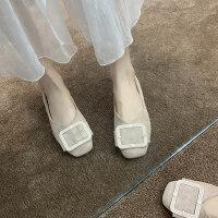 平底单鞋女百搭复古奶奶鞋浅口一脚蹬女鞋仙女鞋豆豆鞋女