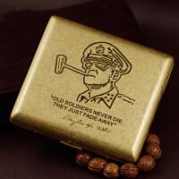 黄铜滚花烟盒复古20只装便携随身男士刻字*麦克阿瑟送朋友送父亲