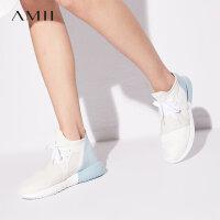 Amii极简bf风系带拼色平跟休闲鞋子女2018夏装新款舒适透气轻便鞋.